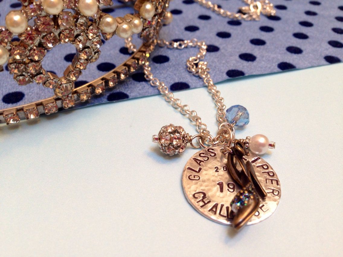 Glass Slipper Challenge Stamped Necklace By Sarahjanedesign 24 00 Glass Slipper Challenge Stamped Necklaces Disney Jewelry