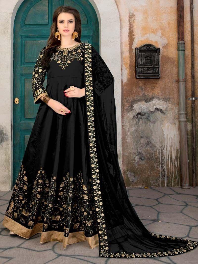 Black color long eid special designer anarkali wedding suit