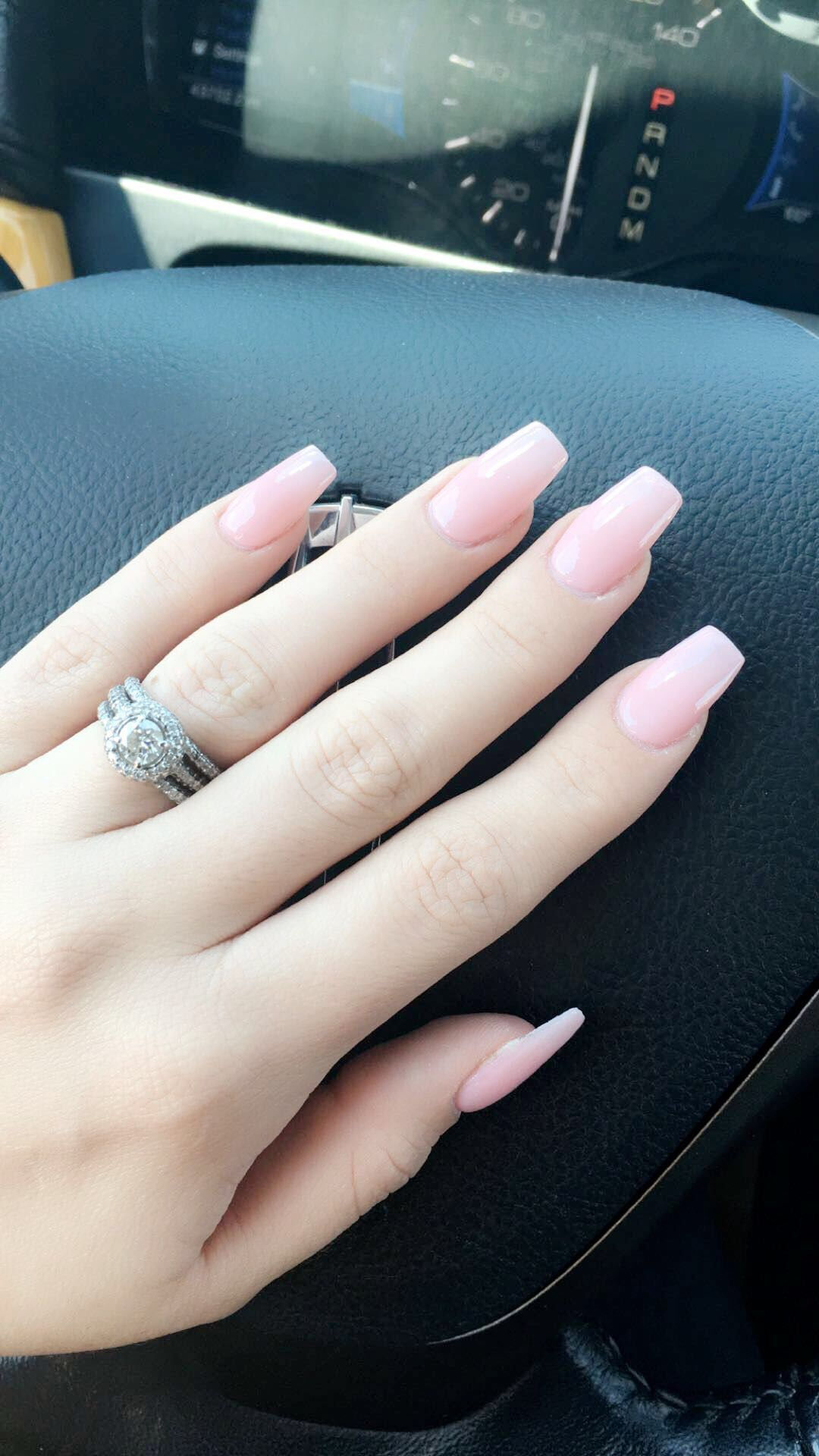 Light Pink Coffin Nails