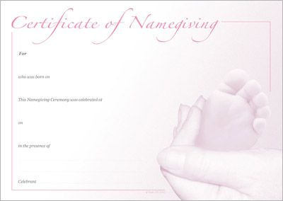 Naming certificate pink foot design naming day certificates designer certificates beautiful certificates anywhere any time yadclub Image collections