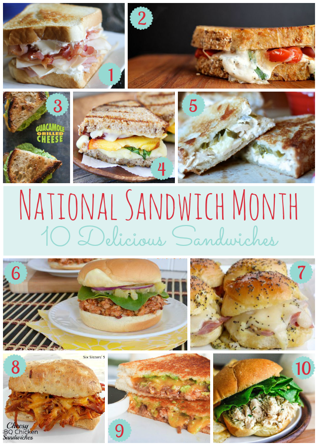 National Sandwich Month- 10 Delicious Sandwiches outside of grilled cheese and PB! #sandwich