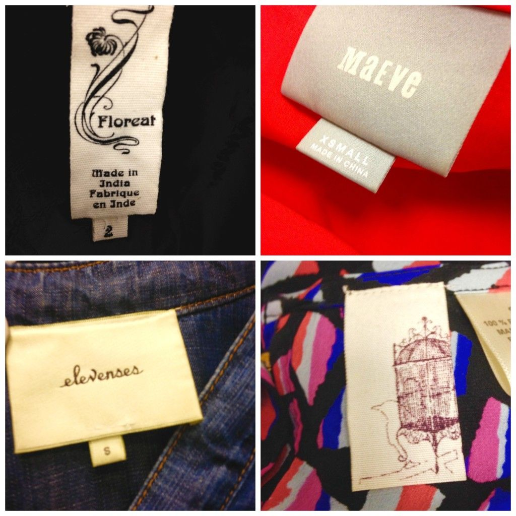 Anthropologie House Brand Labels With