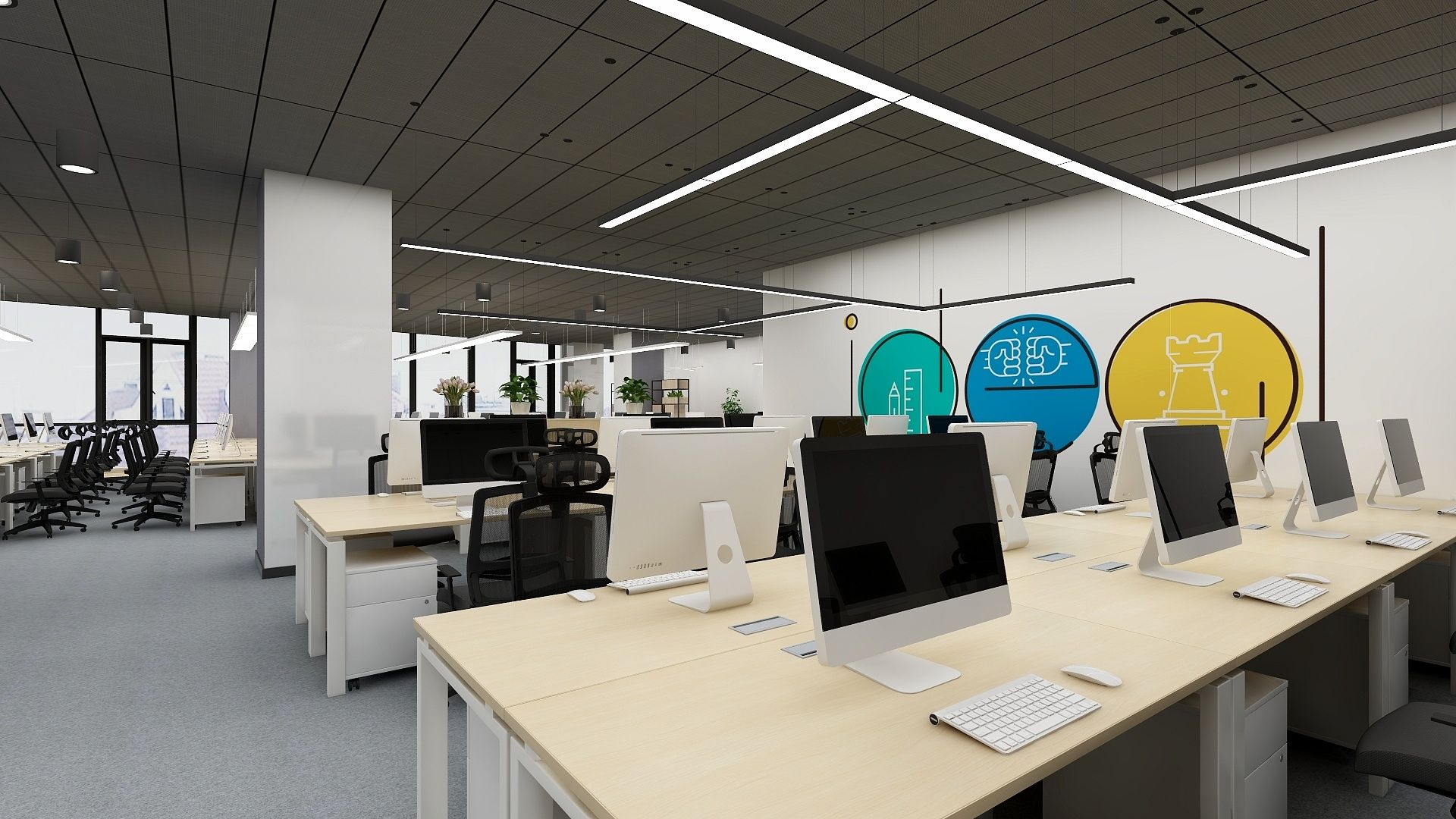 Realistic Office Space Design Created With Free Tool Coohom Space Design Office Space Design Office Design
