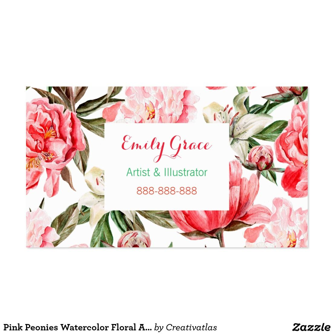 Floral Watercolor Peony Flowers Painted Business Card | Business cards