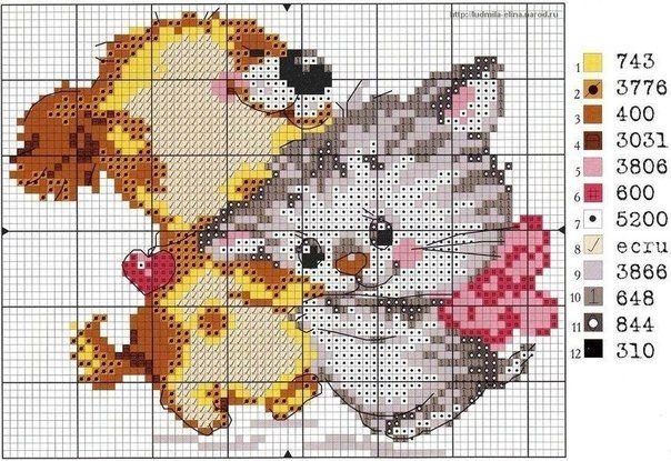 """""""Кошки и собаки"""" - вышивка крестом. Обсуждение на ..."""