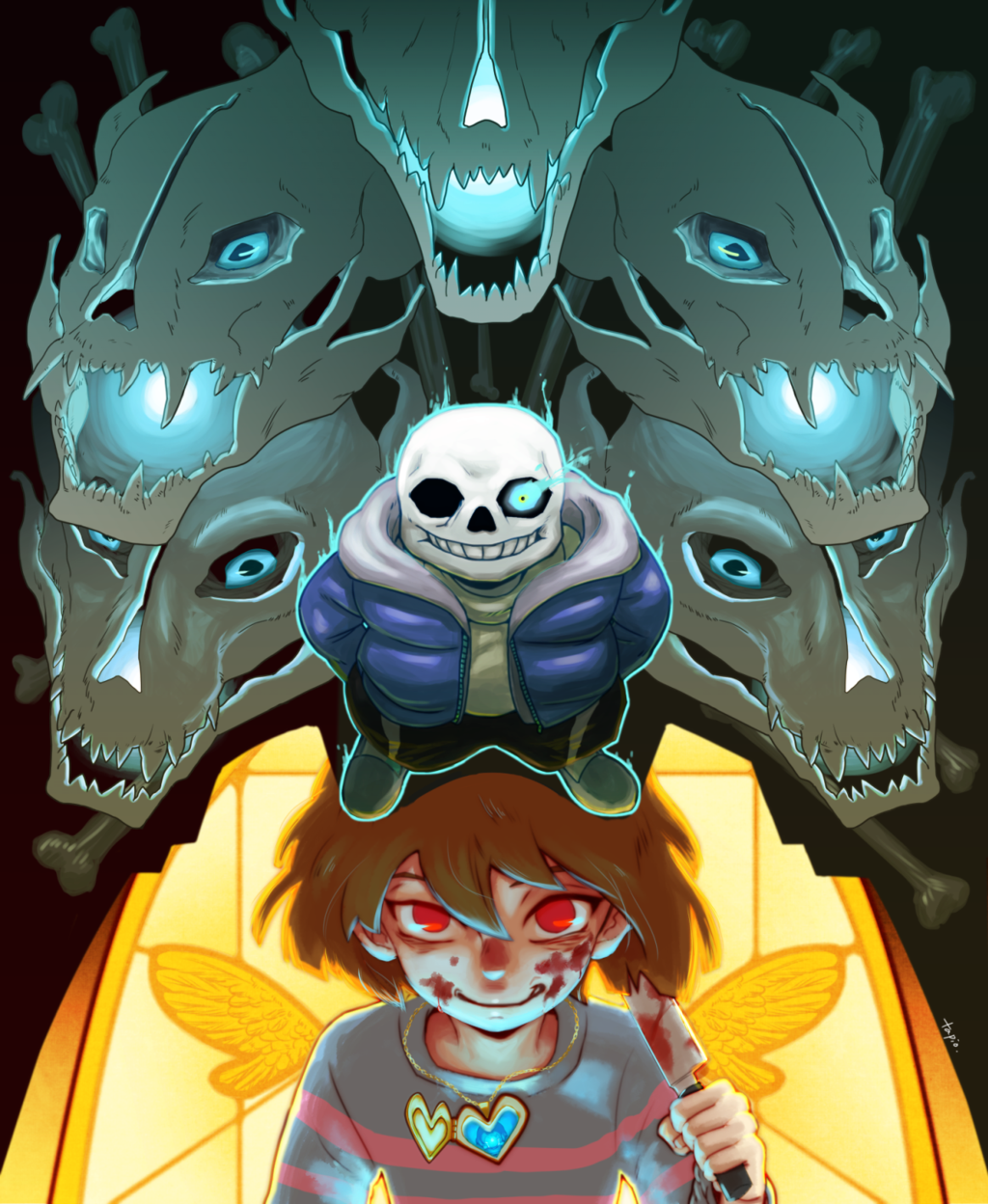 Here we go  by Chihiro-Chietam -- Undertale - Sans vs Chara