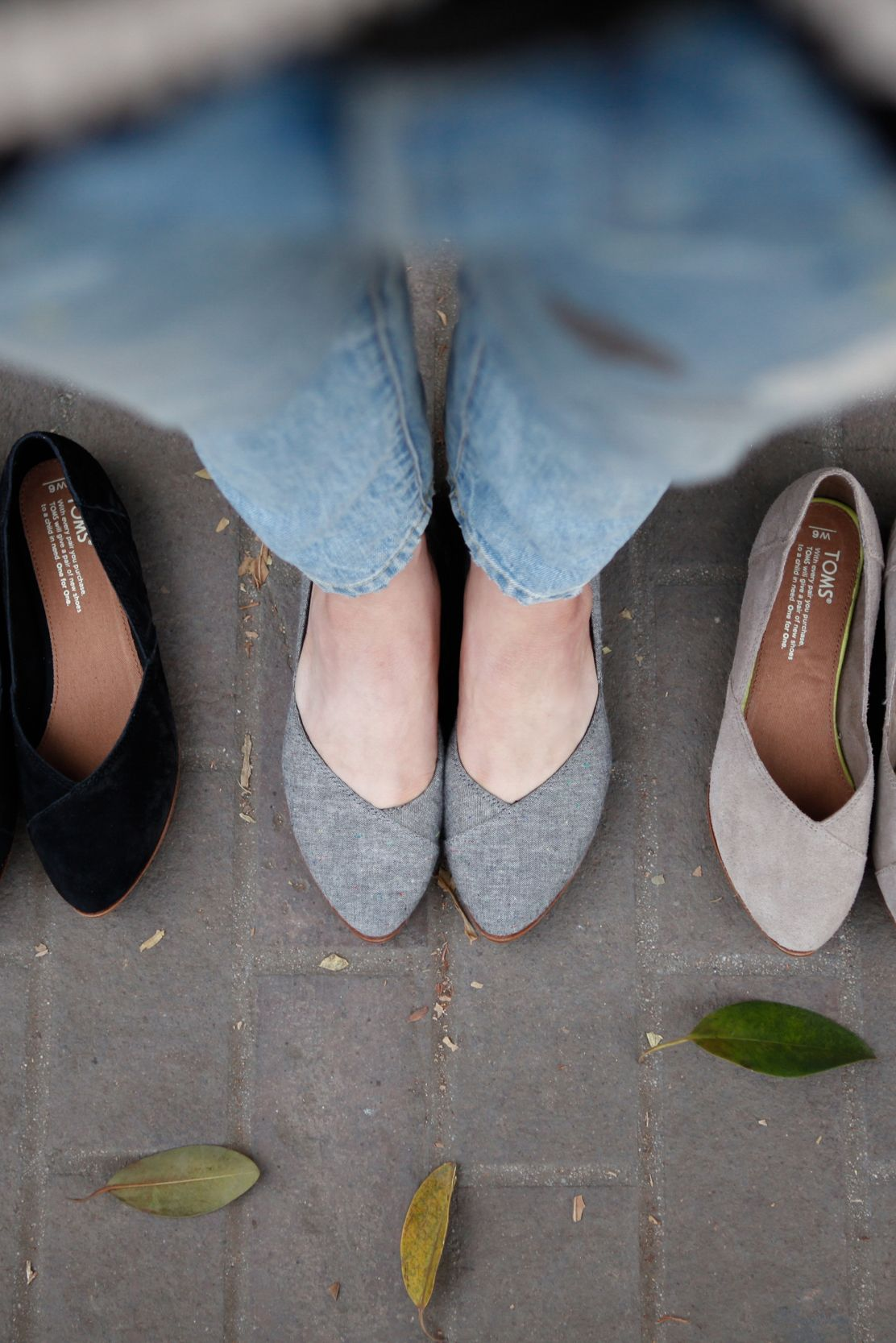 5ba128d92 Grey, chambray or taupe TOMS pointed-toe Jutti Flats. The choice is yours.