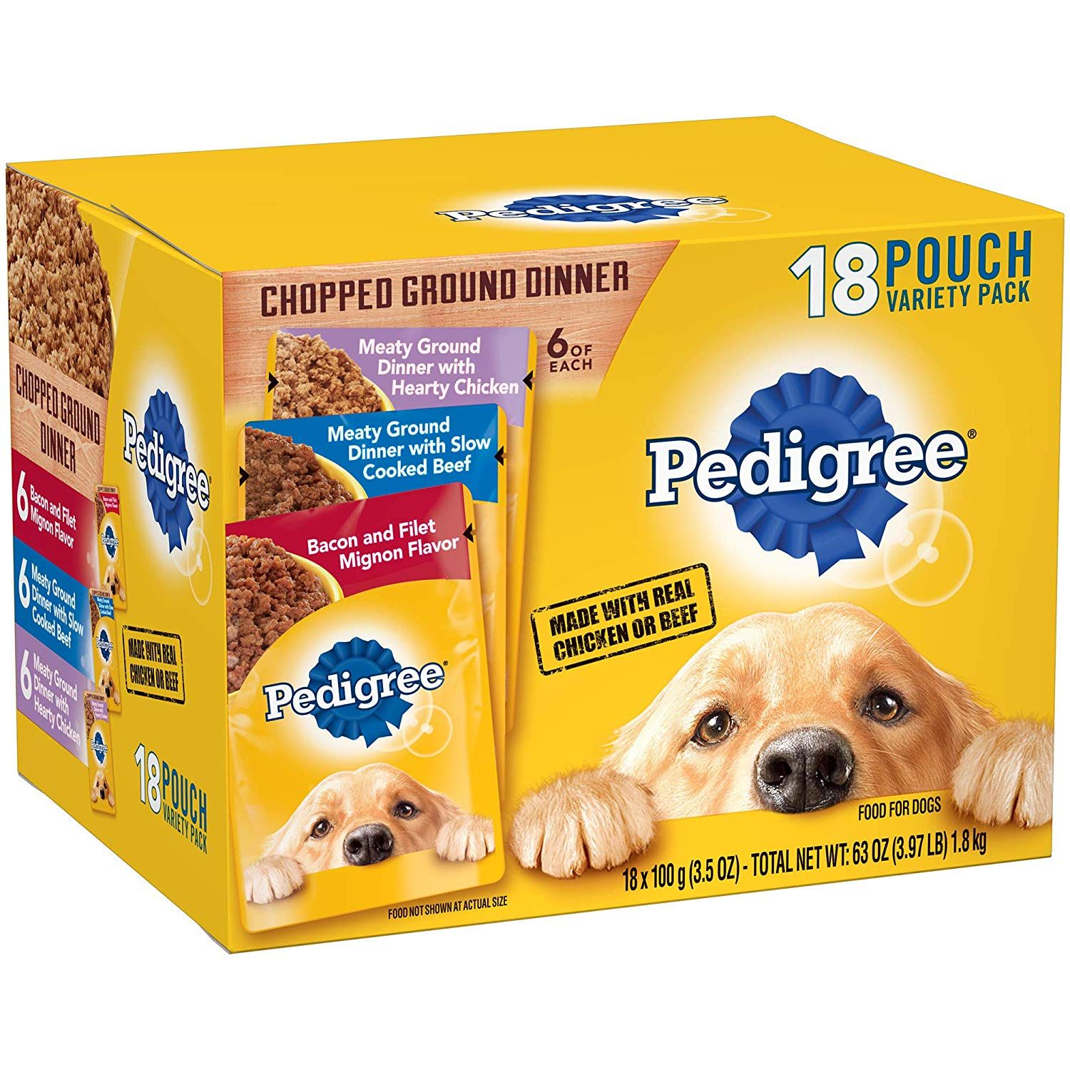 Pedigree Chopped Ground Dinner Adult Wet Dog Food Pouches We