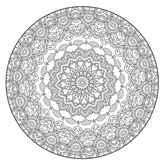 Intricate Mandala coloring page for adults mandala