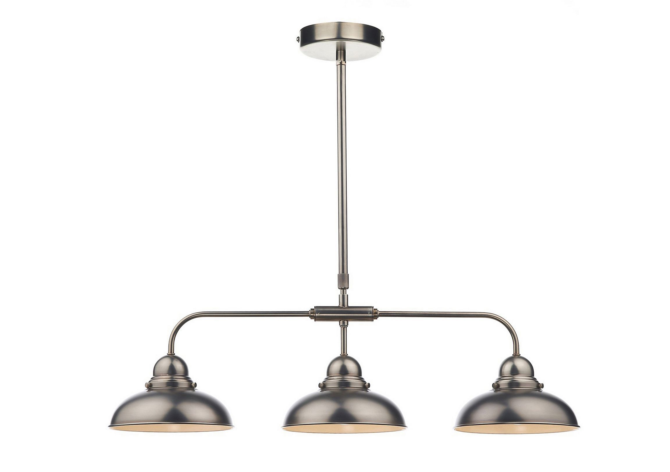 Trio of contemporary metal lights   On trend retro style shades   Polished antique chrome finish