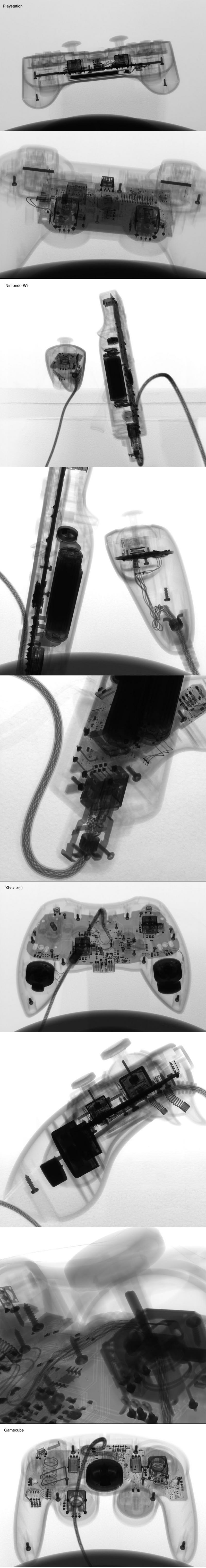 Various video game controllers put under an x-ray machine