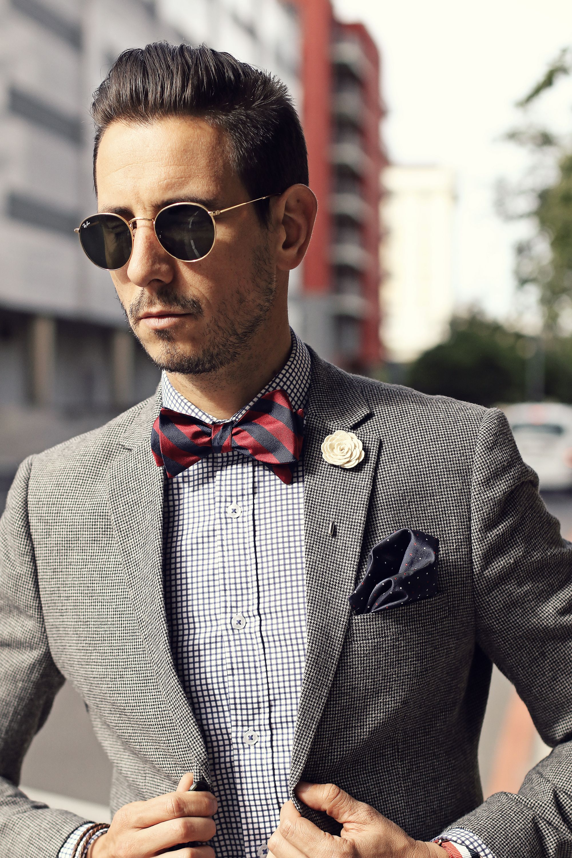 Mens fashion ray ban sunglasses blue suit white and black mens fashion grey blazer checked shirt red and navy bow tie white dhlflorist Choice Image