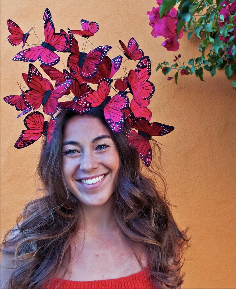 The Social Butterfly Red Fascinator Headdress Red Fascinator Fascinator Headdress