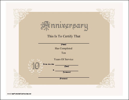 a lacy look certificate honor 10 years of service for an employer