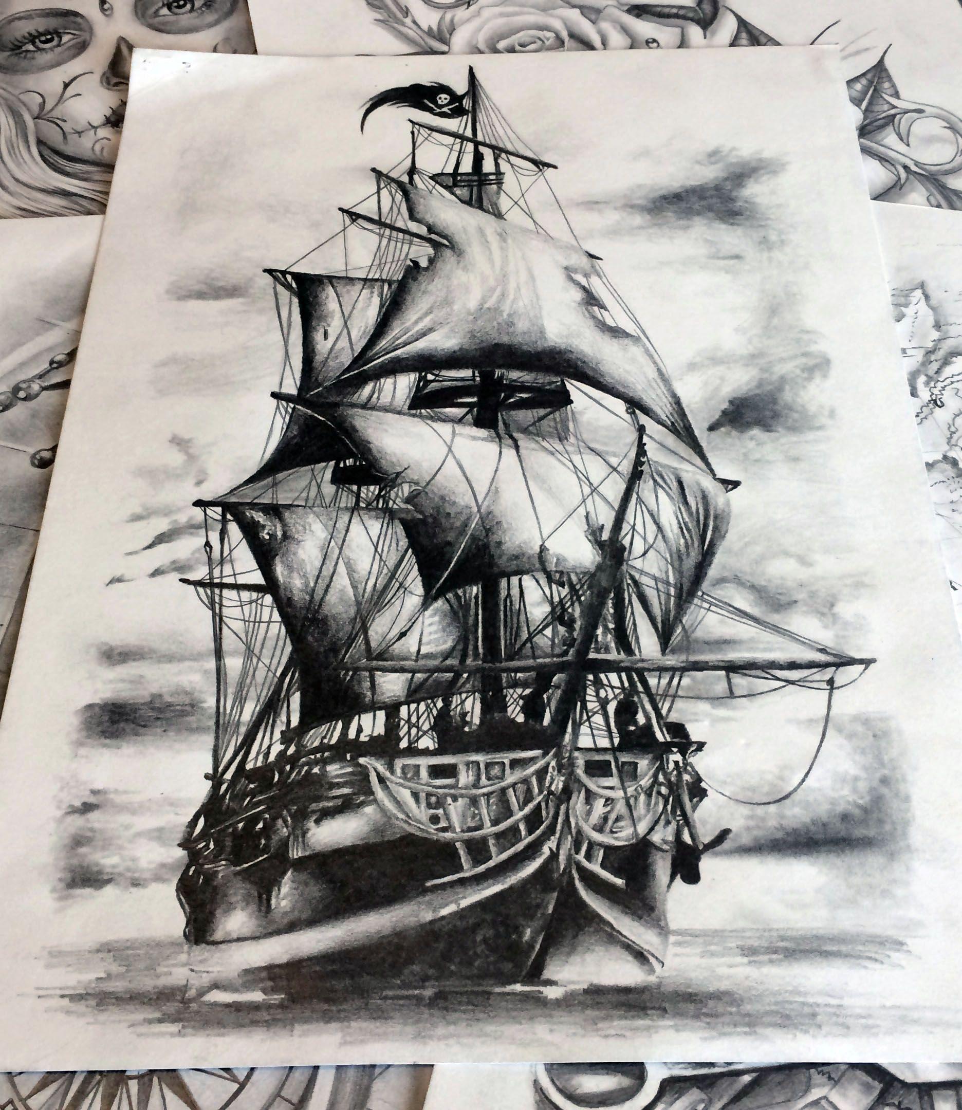 Marine Tatouage Bateau Bateau Pirate Dessin Tatouage Realisme