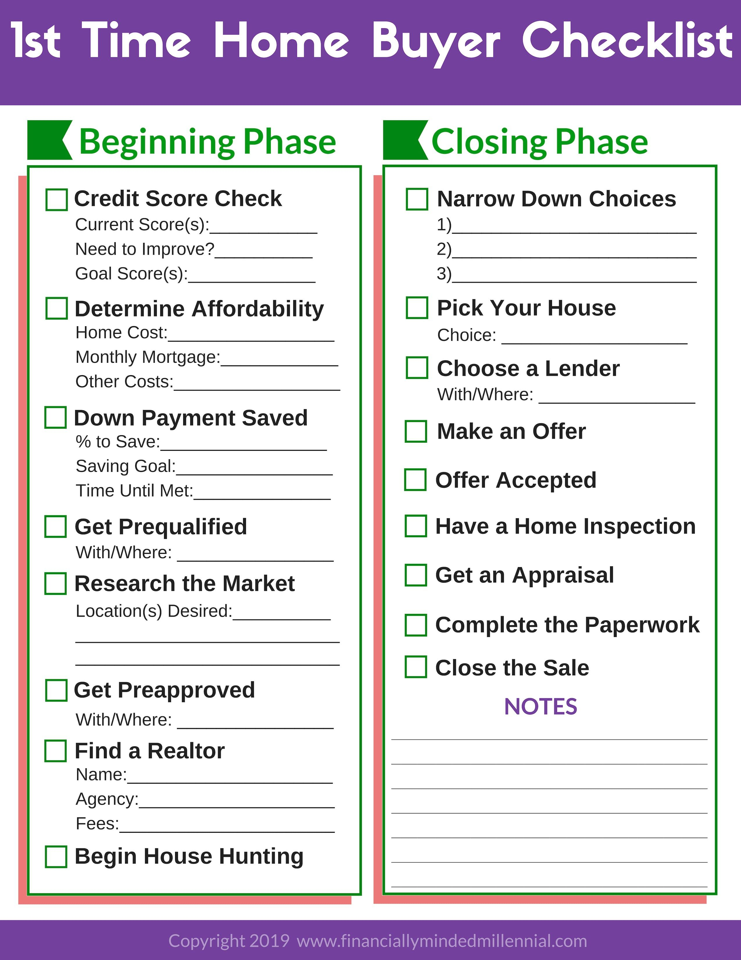 Free Printable Checklist For 1st Time Home Buyers 17 Critical Steps In 2020 Buying First Home Home Buying Checklist First Home Checklist