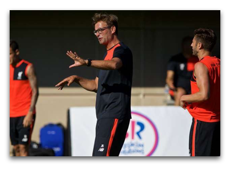 """Watch Jurgen Klopp conduct Diamond Training with Liverpool during preseason at Stanford University:   """"Jurgen Klopp stands just off them chipping in with a"""