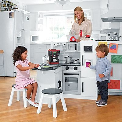 Kidkraft Wooden Play Kitchen Set With Stools Onestepahead Com