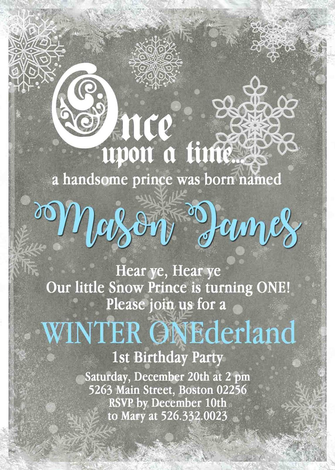 Winter onederland snowflake first birthday invitation blue pink winter onederland 1st birthday invitation pink or blue stopboris Images