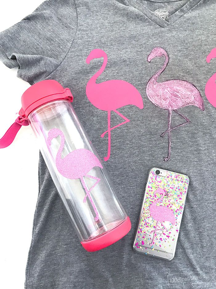 Fabulous Flamingo DIY ideas YOU can make - free printable/cut file designed by Jen Goode. (PERFECT for back-to-school personalizing)