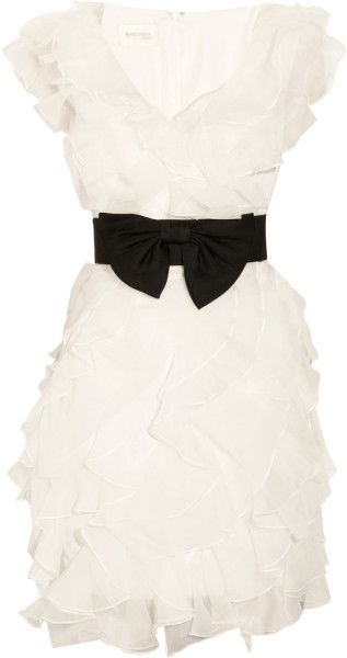 Notte By Marchesa White Ruffled Organza and Tulle Dress