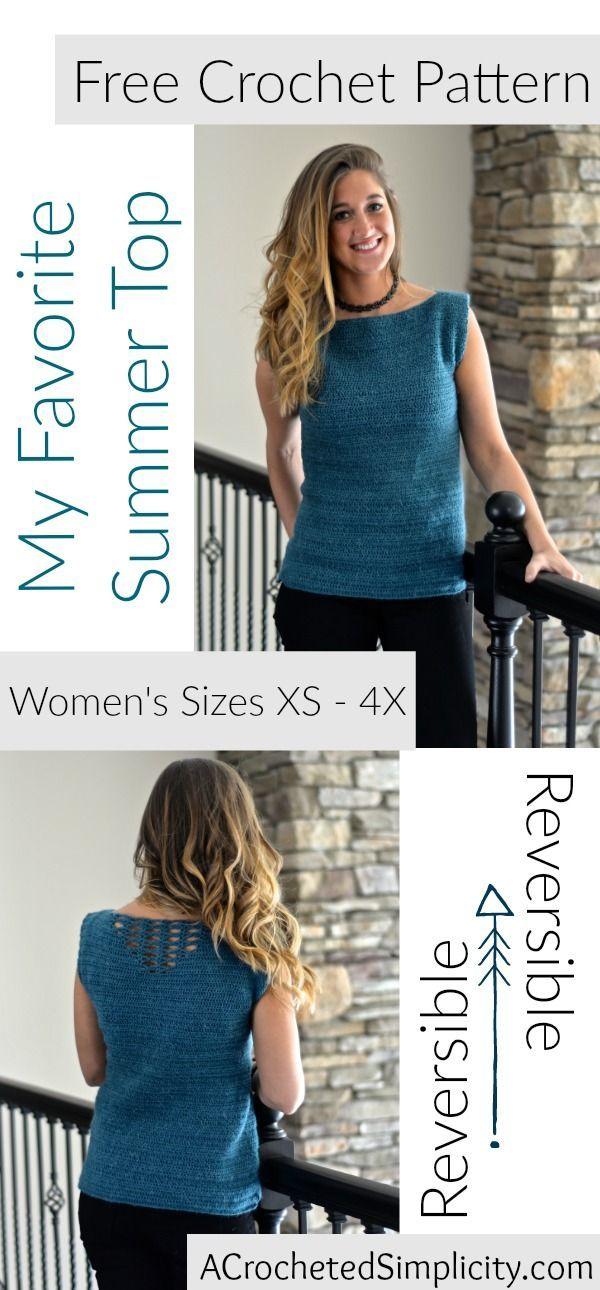 Free Crochet Pattern - My Favorite Summer Top | Summer tops, Free ...