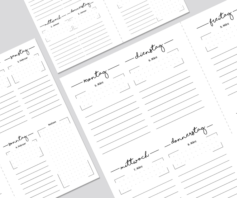 Druckvorlagen für das Kalenderlayout KÜSTE, ein Wochenplaner für den ...