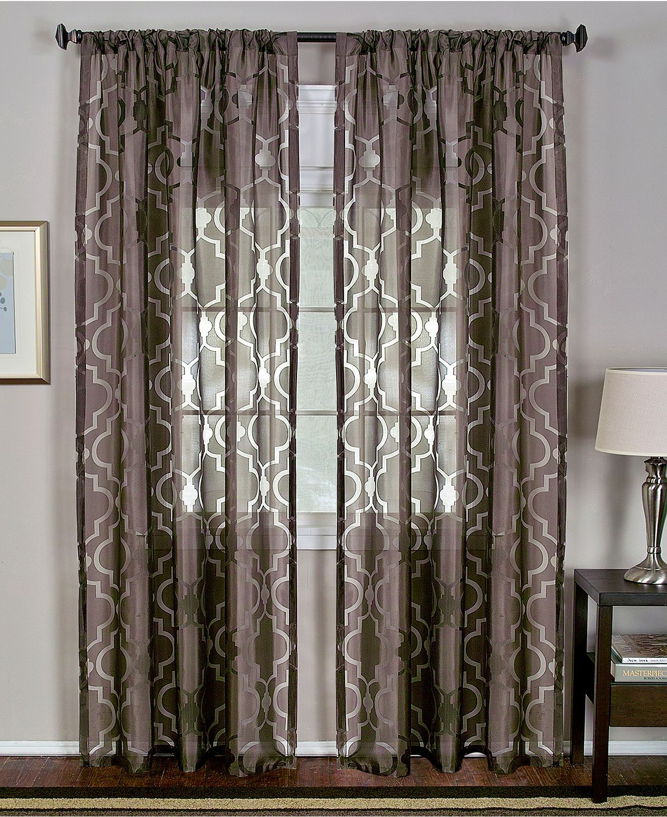 Macys Curtains For Living Room Elrene Sheer Montego Burnout 52 X 84 Panel Shops Home And Mink