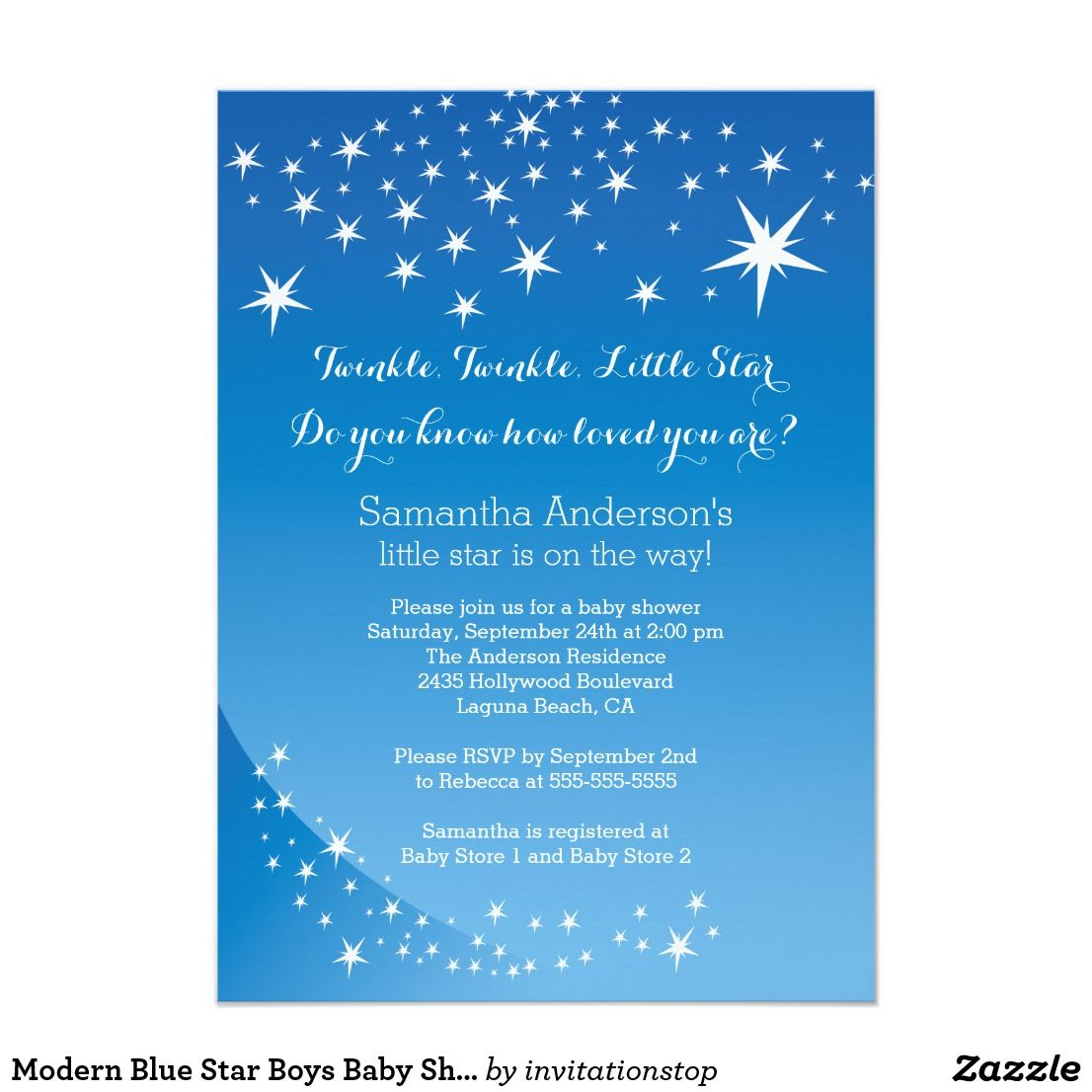 Modern Blue Star Boys Baby Shower Invitation