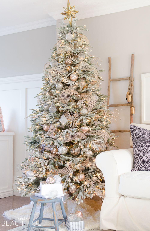 A Snowy Flocked Christmas Tree | Nick + Alicia