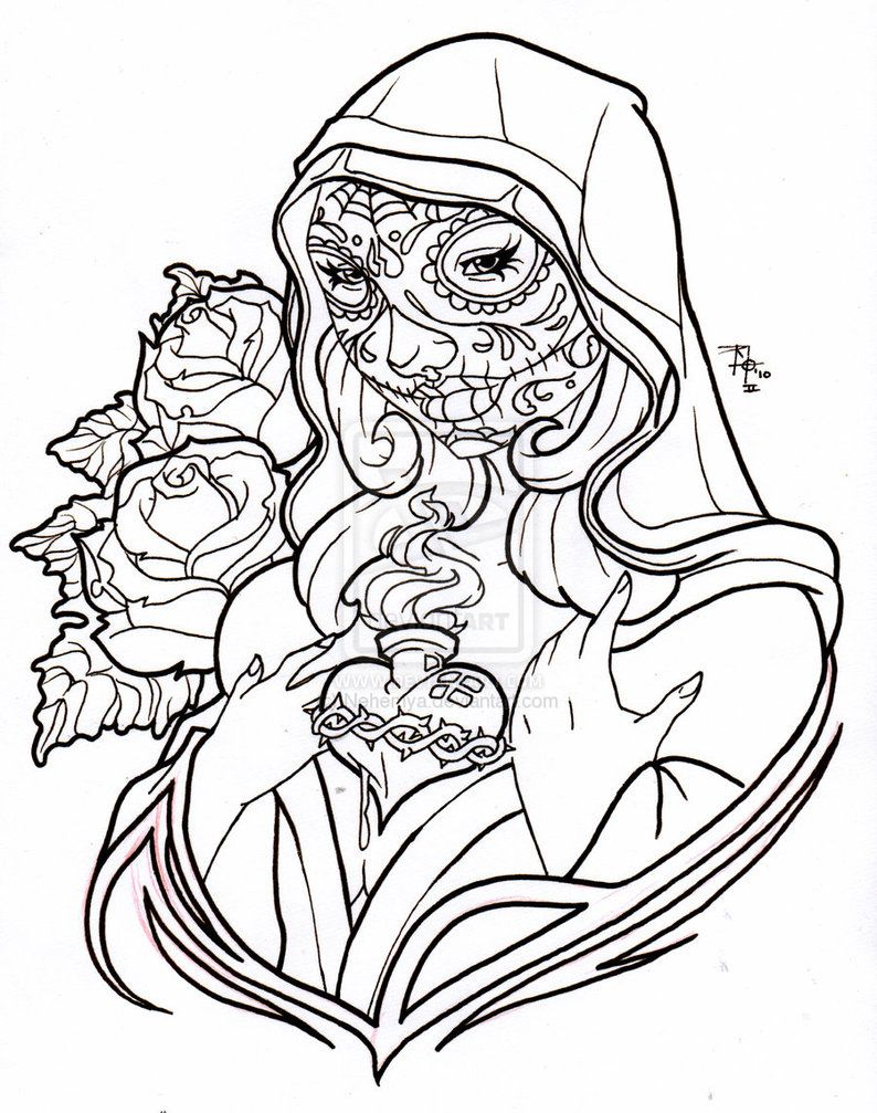 Printable coloring pages virgin mary - Day Of The Dead Virgin Mary By Nehemya On Deviantart Day Of The Dead Dia De Los Muertos Sugar Skull Coloring Pages Colouring Adult Detailed Advanced