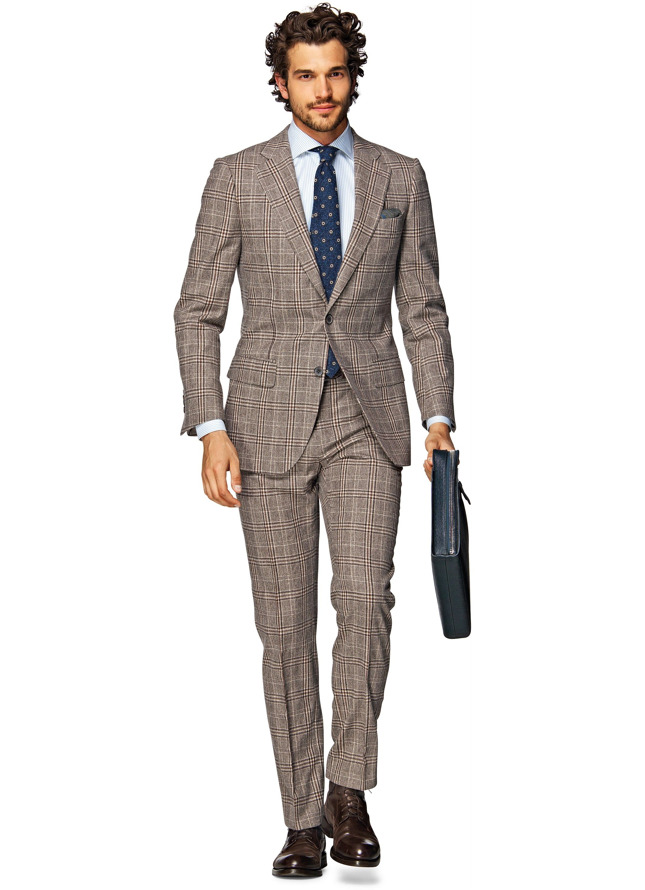 Suit Brown Check Lazio P3915i | Suitsupply Online Store | My Style