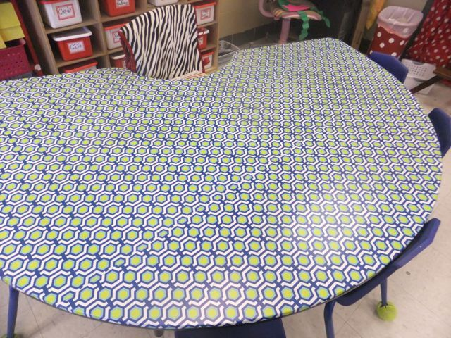 Patterned Contact Paper Covered Table! My Desk WILL Be Sporting Contact  Paper This Fall ;