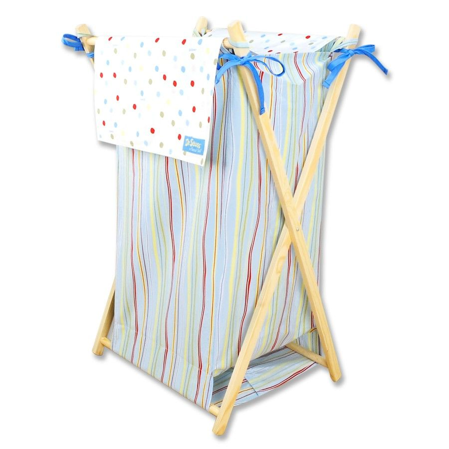 Seuss One Fish Two Hamper By Trend Lab Is A Decorative Solution For Quick Clean Up The Cotton Percale Striped Body With Dot Print Outer Flap Easily