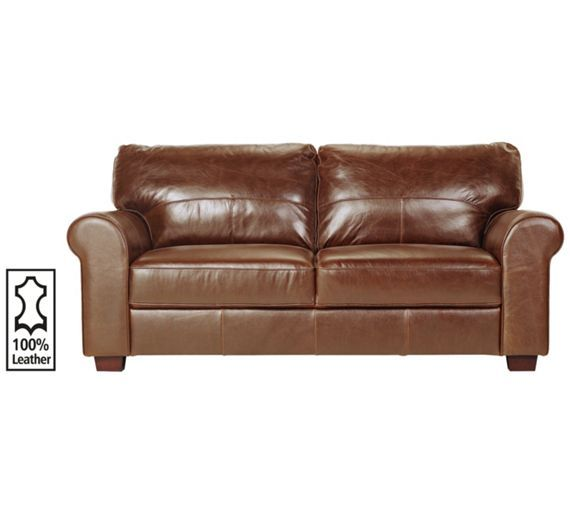 Buy Heart Of House Salisbury Large Leather Sofa Tan At Argosco - Leather sofas and chairs uk