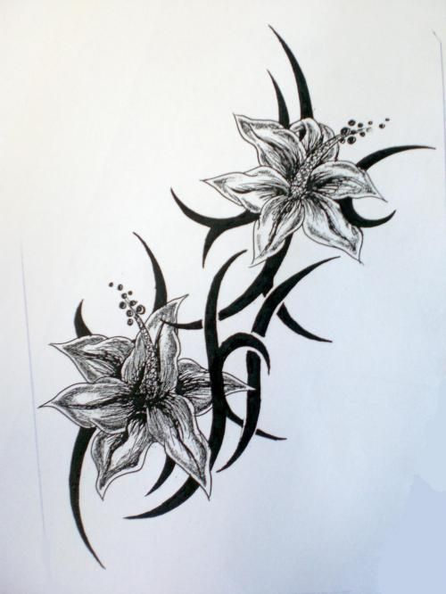 black flower tattoos flowers tattoos black and white tattoo flash tribal tatoo ideas