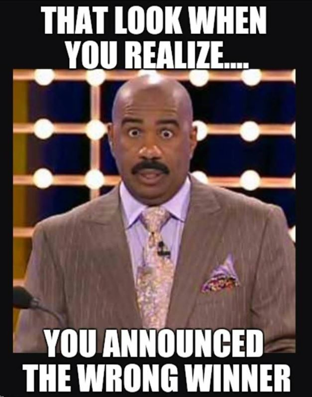 Steve Harvey That Look When You Realize You Announced The Wrong Winner Beauty Pageant Contest Meme Miss Universe Steve Harvey People Quotes Funny