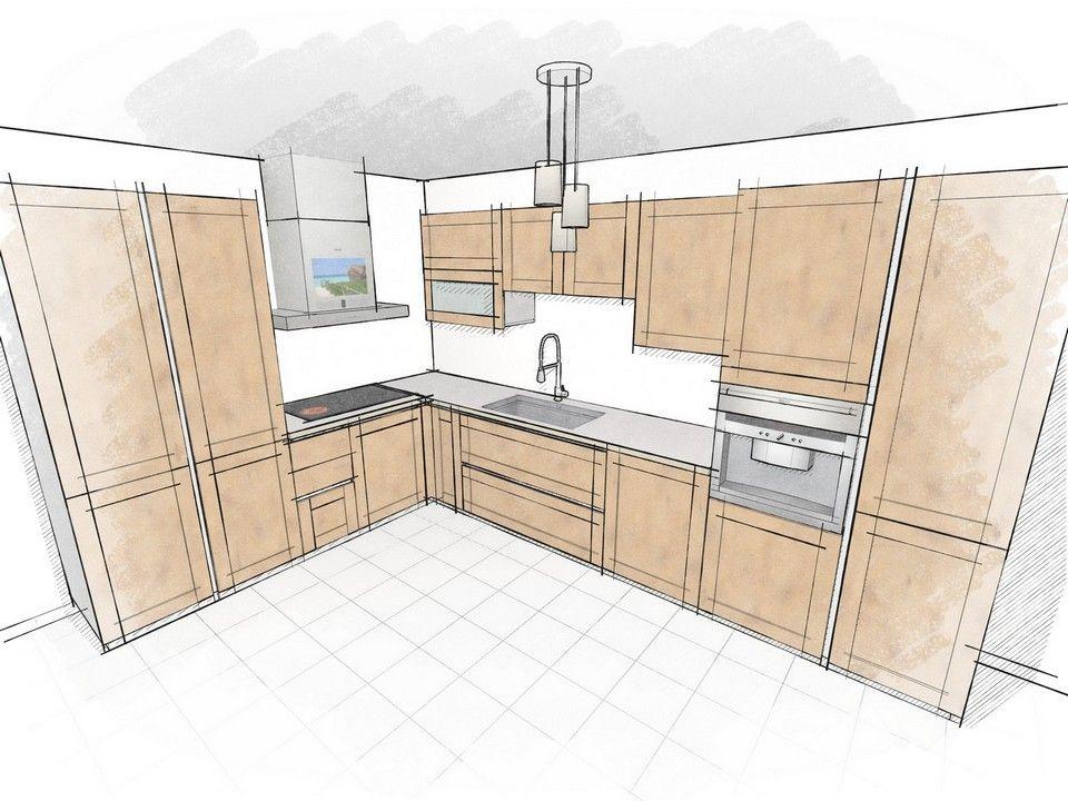 Dessin De Cuisine Rendu Crayonné Meubles Bois  Kitchen Design Enchanting Kitchen Design Drawings Inspiration Design