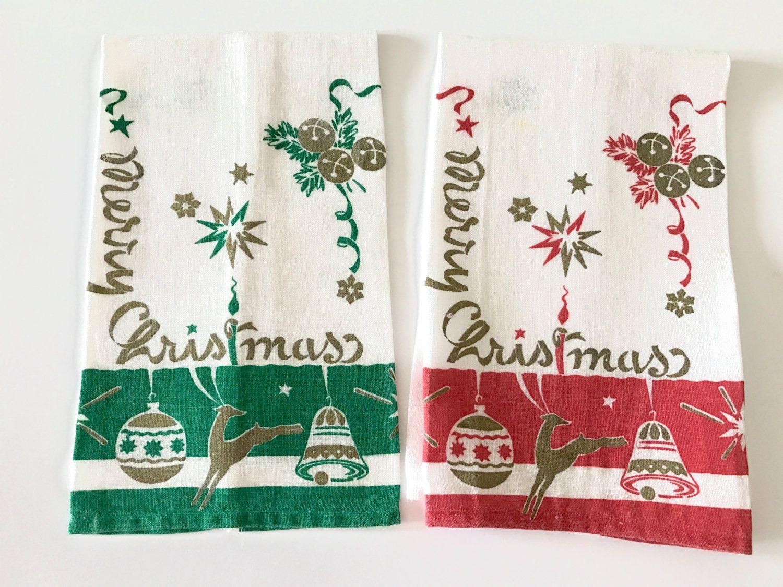 Vintage Christmas Towels Fingertip Guest Set Linen Hand