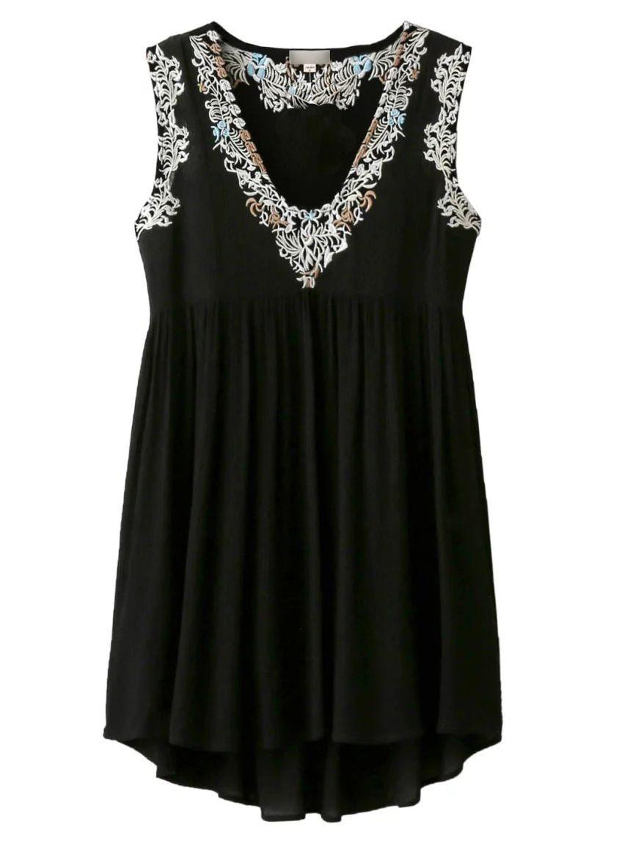 Vestido escote pico bordado con top-(Sheinside)