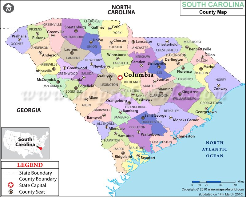 Look at the detailed map of SouthCarolina county showing the