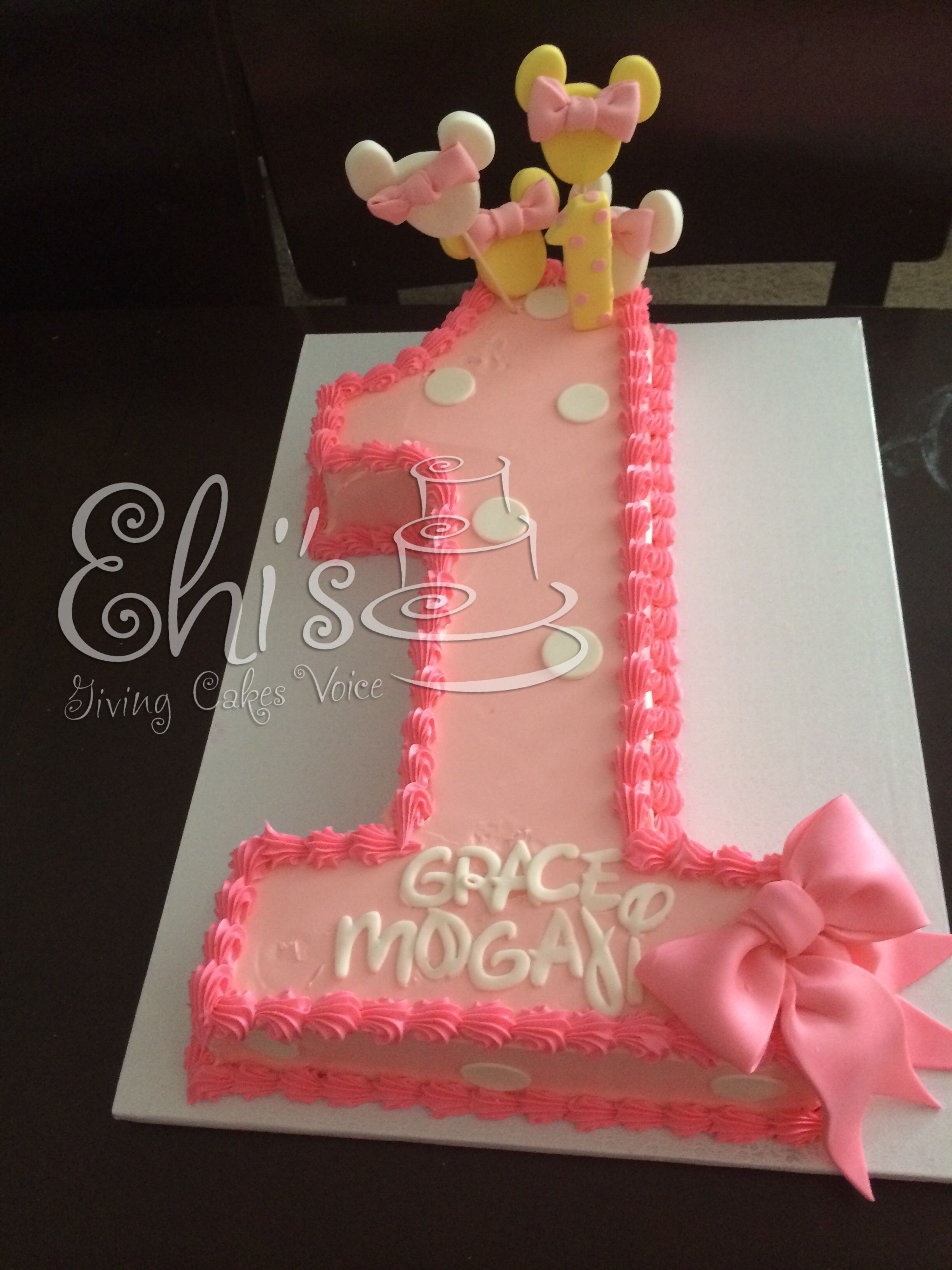 Number 1 Minnie Mouse cake | First birthday cakes, Minnie ...