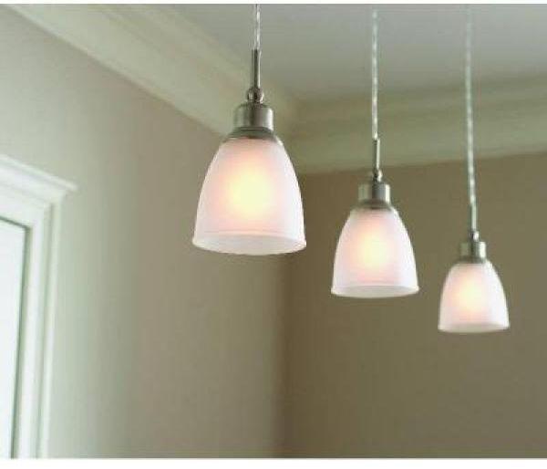 Leonlite 3 Pack Industrial Pendant Lighting For Kitchen: Brushed Nickel 1-Light Mini Hanging Pendant Ceiling Light