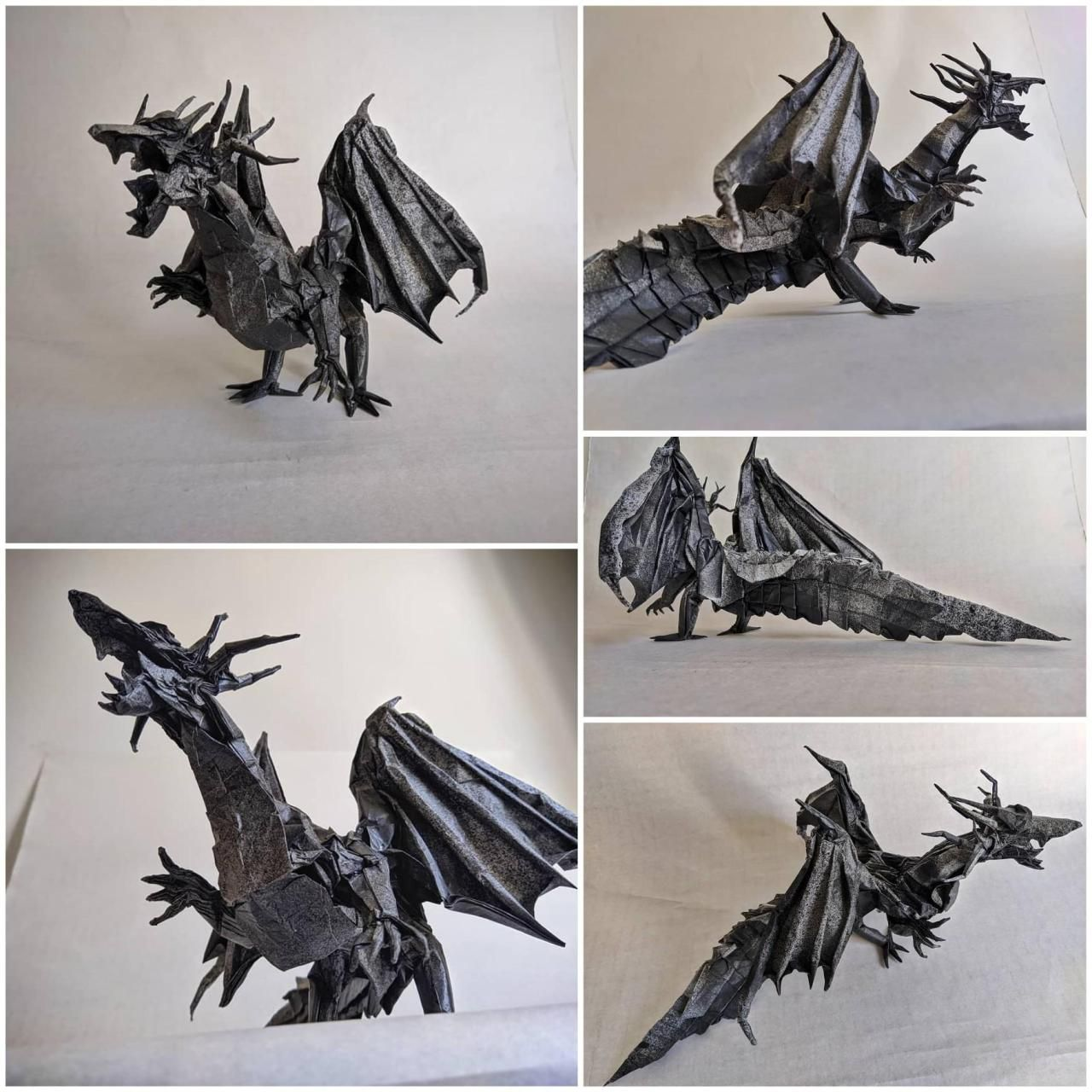 Photo of An origami dragon that Ive been working on. Its folded from a square sheet of 1….