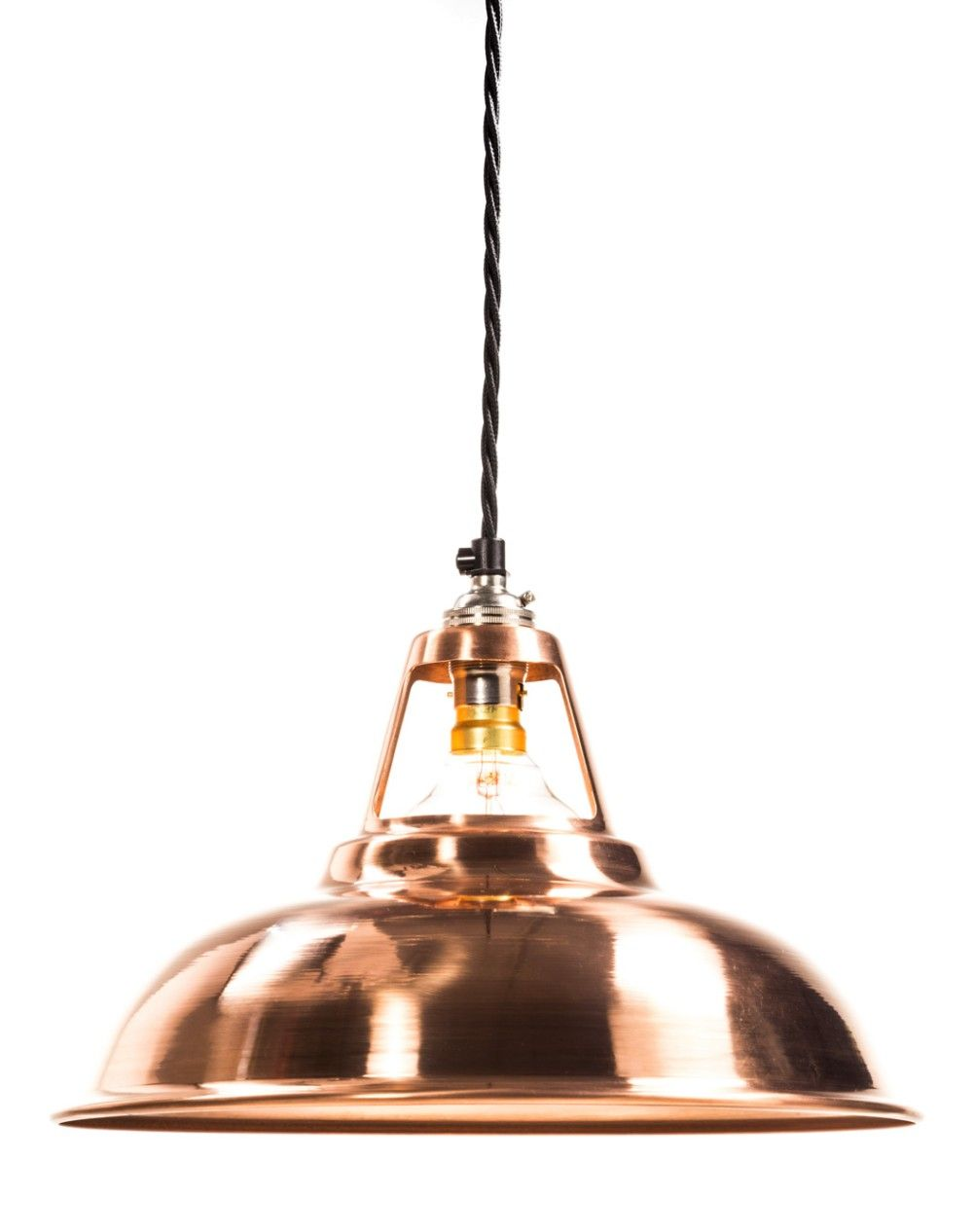 Factorylux Made In Uk Hand Spun Solid Copper Coolicon Lamp Shade Available As A Pendant Or Only