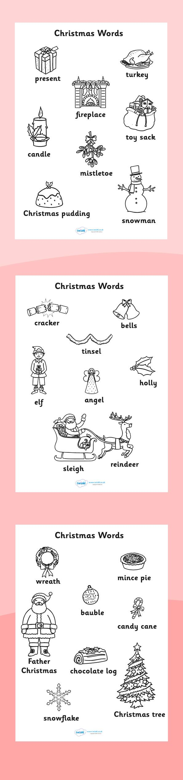 Twinkl Resources Christmas Words Colouring Sheets Printable Resources For Primar Christmas Words Christmas Coloring Books Classroom Christmas Decorations