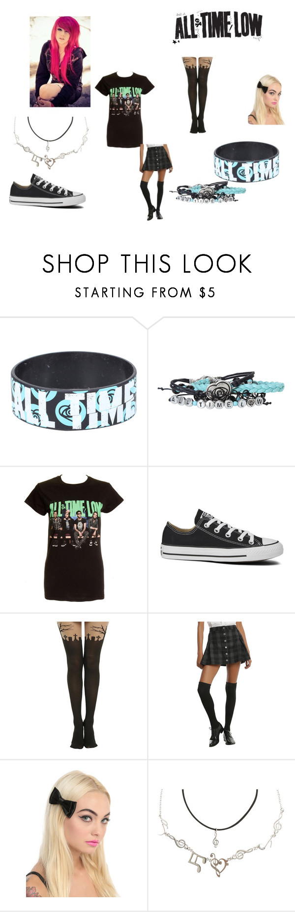 """All Time Low"" by alexemoforever on Polyvore featuring Converse"