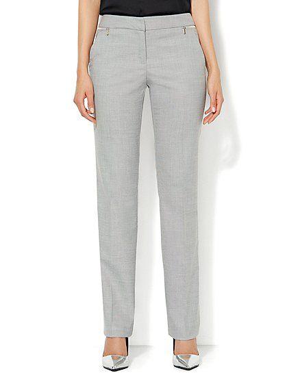 a4f45d6df9fc 7th Avenue Pant - Signature Fit - Slim Leg - Zip Accents - Light Heather  Grey - New York & Company