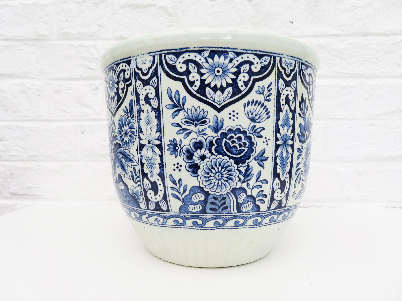 Large Vintage Ceramic Delft Blue Planter Blue Ceramic Pot Boch Belgium Royal Sphinx Holland Delft Flowers White Planters White Ceramic Planter Blue Planter