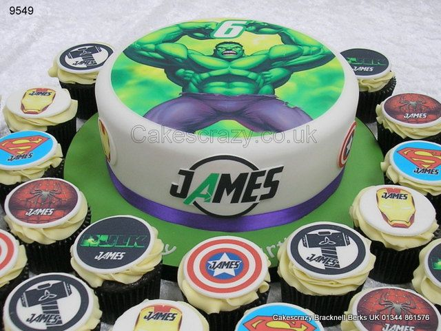 Incredible Hulk Cake And Cupcakes httpwwwcakescrazycouk